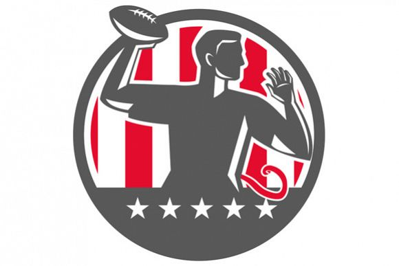 Flag Football QB Player Passing Ball Circle Retro example image 1