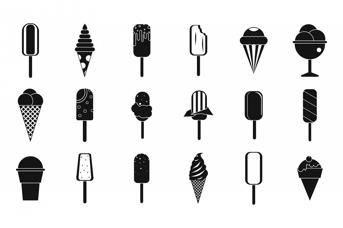 Ice cream icon set, simple style example image 1