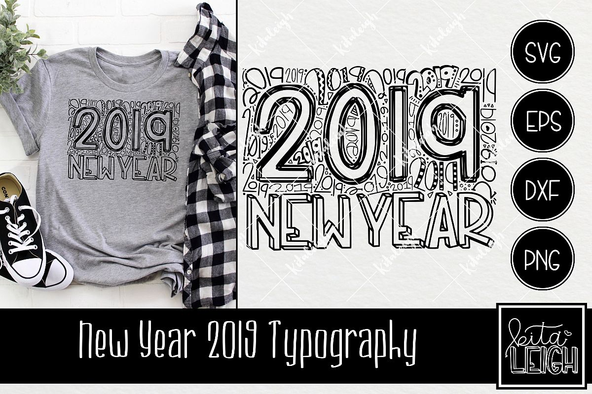 New Year 2019 Typography example image 1