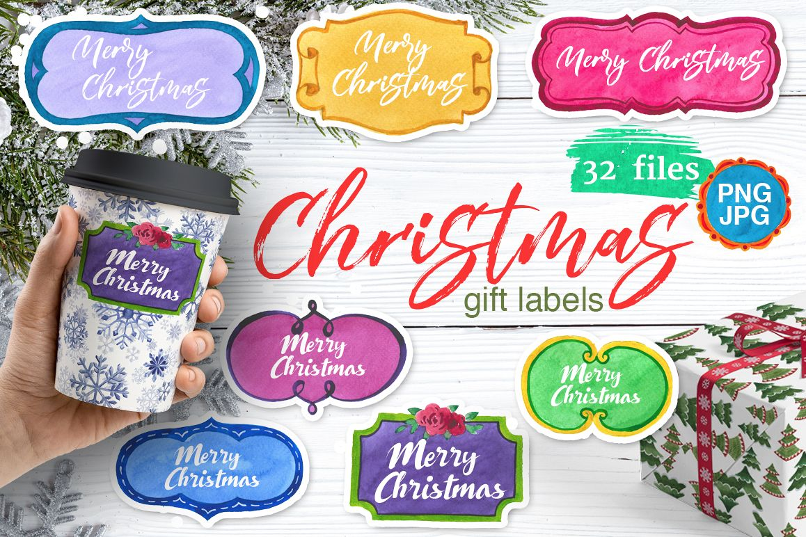 Gift labels PNG watercolor set example image 1