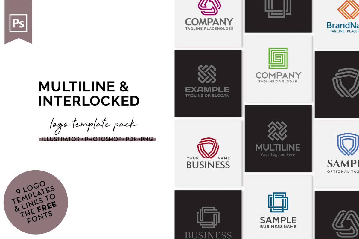 Multiline Logo Design Bundle example image 1