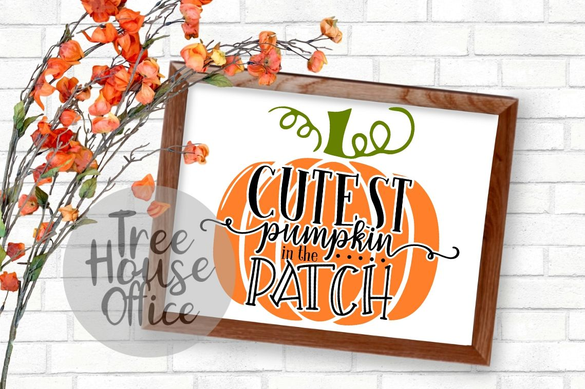 Cutest Pumpkin in the Patch Fall Autumn Baby SVG PNG JPEG example image 1