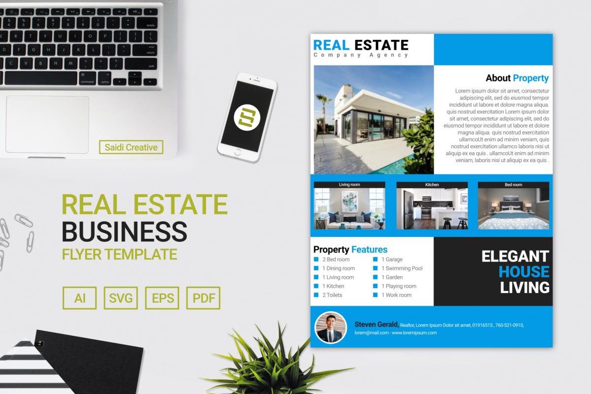 Real Estate Business Flyer Brochure Template Design Example Image 1