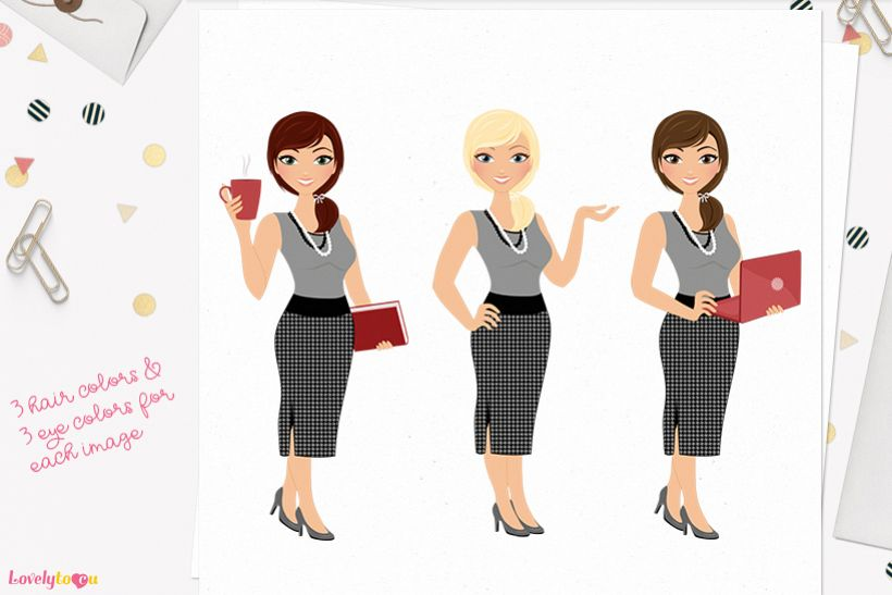Woman business character clip art L105 Georgia example image 1