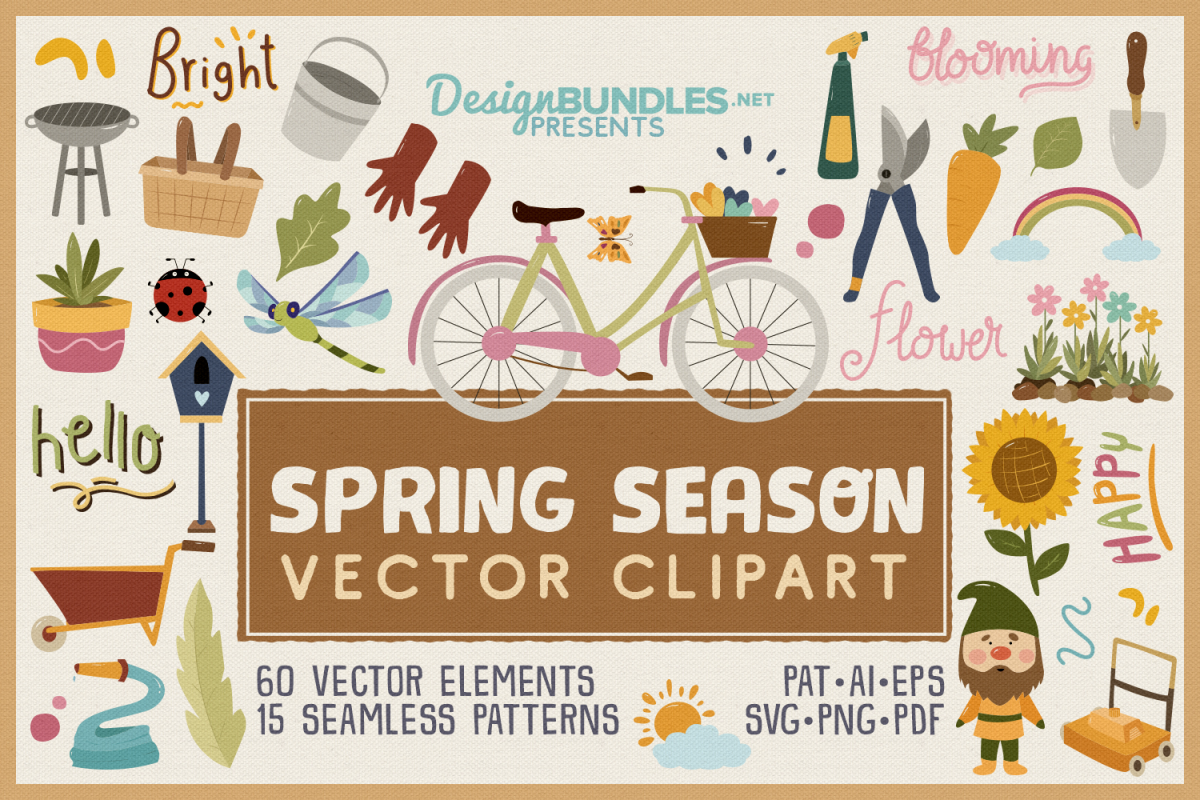 Spring Season Vector Clipart & Seamless Patterns example image 1