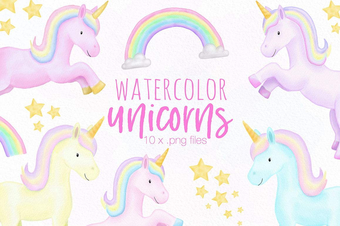 Unicorn Watercolor Illustrations example image 1