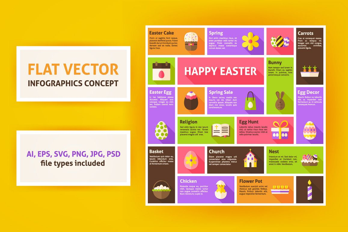 Happy Easter Flat Vector Infographic example image 1