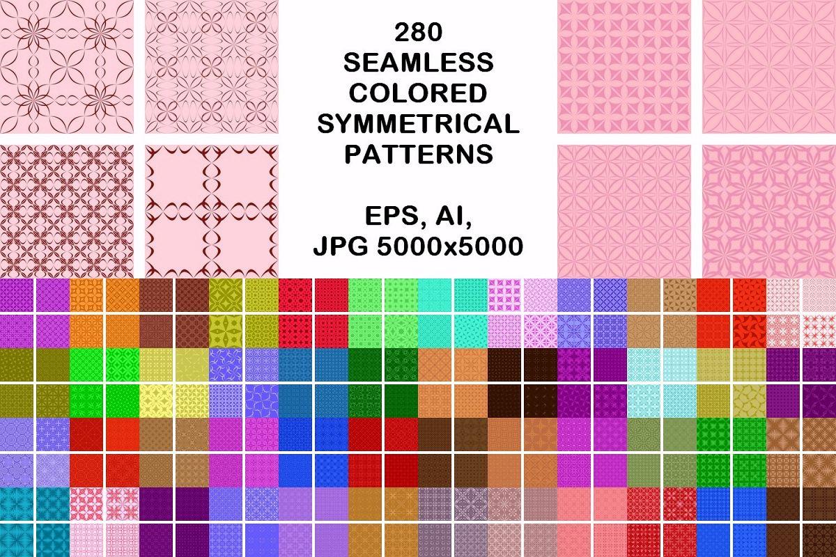 280 seamless symmetrical pattern backgrounds (AI, EPS, JPG 5000x5000) example image 1