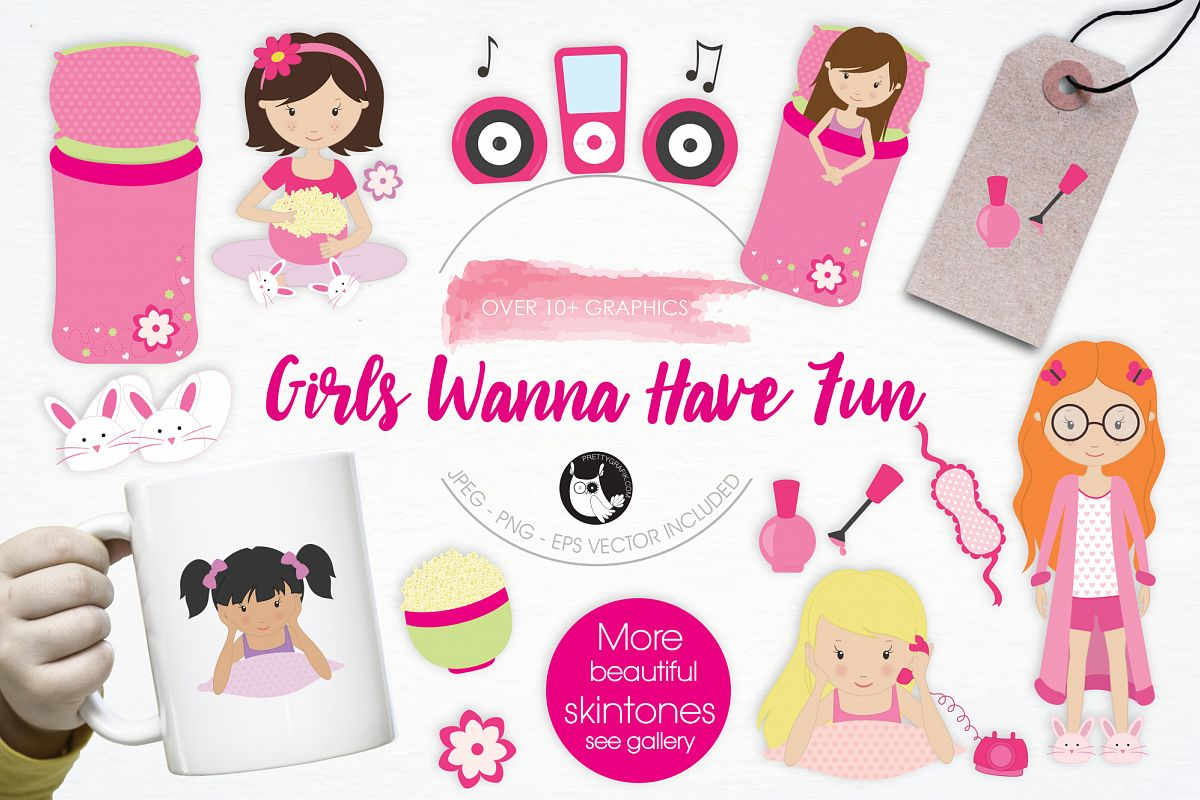 Girls Wanna Have Fun graphics and illustrations example image 1