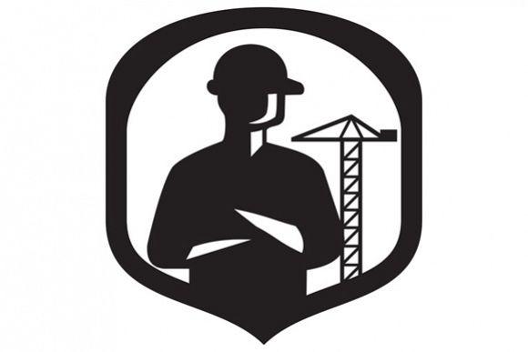 Builder Arms Folded Boom Crane Crest Retro example image 1