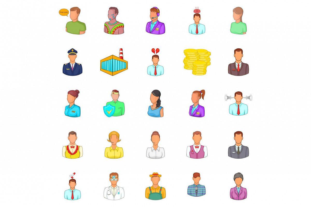 Retail icons set, cartoon style example image 1