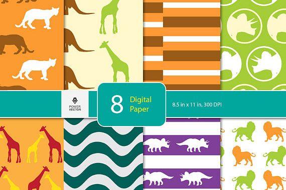Animals Digital Paper Animals Background Children Dinosaur Wild Animals Triceratops Paper For Scrapbooking Blog Background Card Making