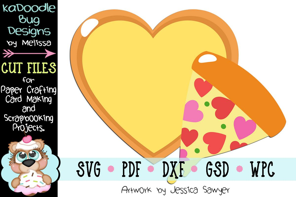 Valentine Heart Pizza Cut File - SVG PDF DXF GSD WPC example image 1
