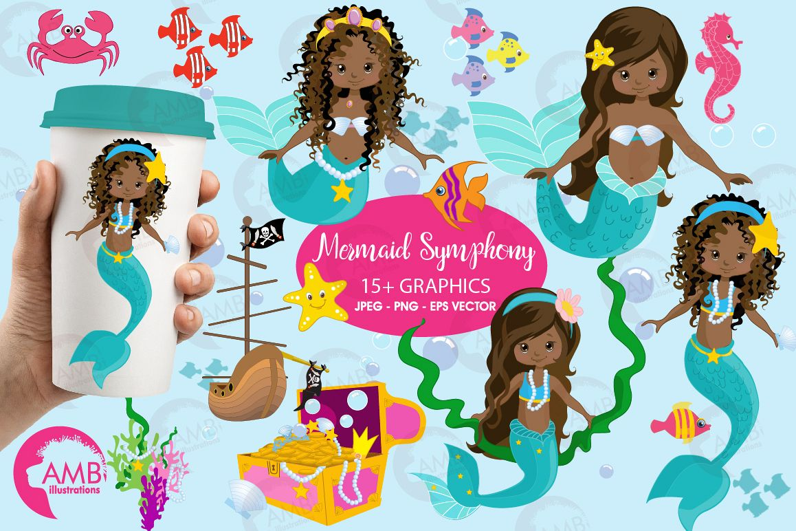 Mermaid Princess clipart, African AMerican Mermaids clipart, graphics, illustrations AMB-1363 example image 1