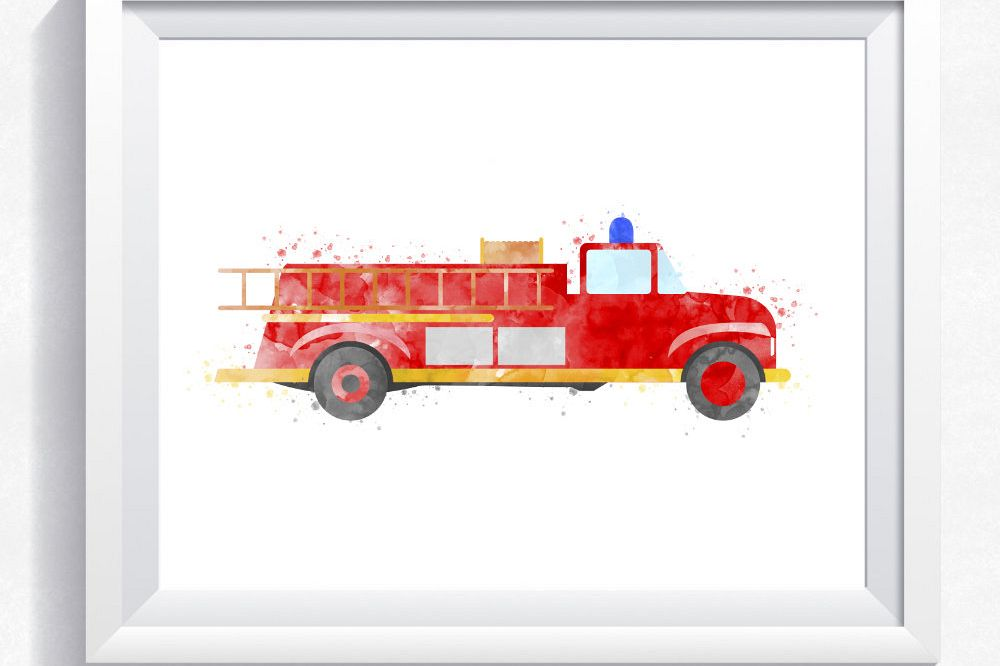 graphic about Fire Truck Printable known as Watercolor hearth truck, hearth motor printable, hearth truck wall artwork, rescue truck print, rescue auto print, boy bed room wall artwork