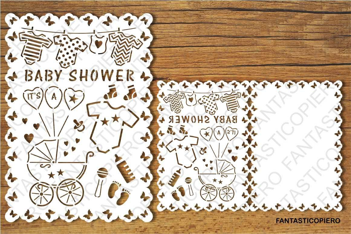 Download Baby Shower card SVG files for Silhouette and Cricut.