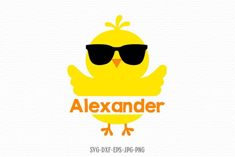 Easter Chick Svg, Chick boy monogram frame Svg, Easter svg example image 1