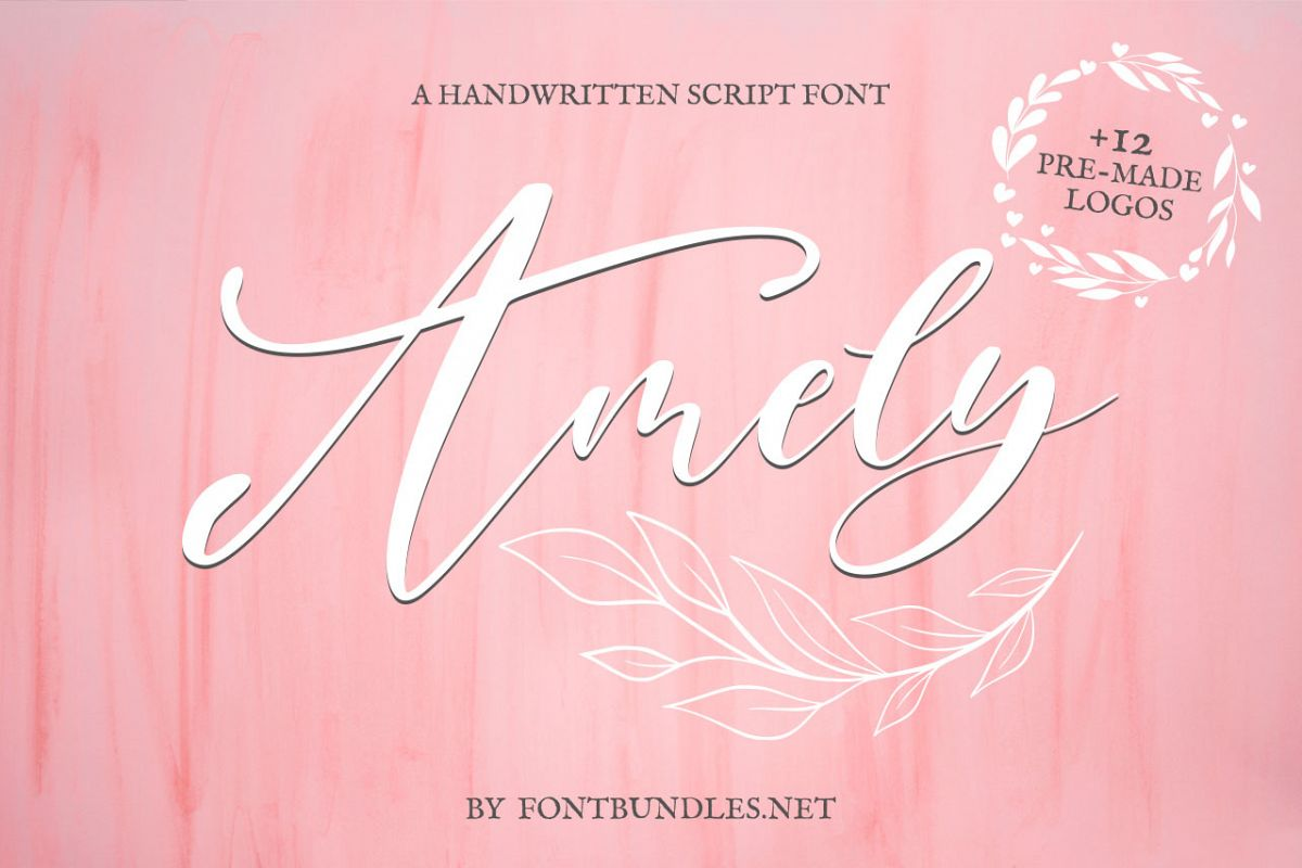 Amely Script Font and logo example image 1