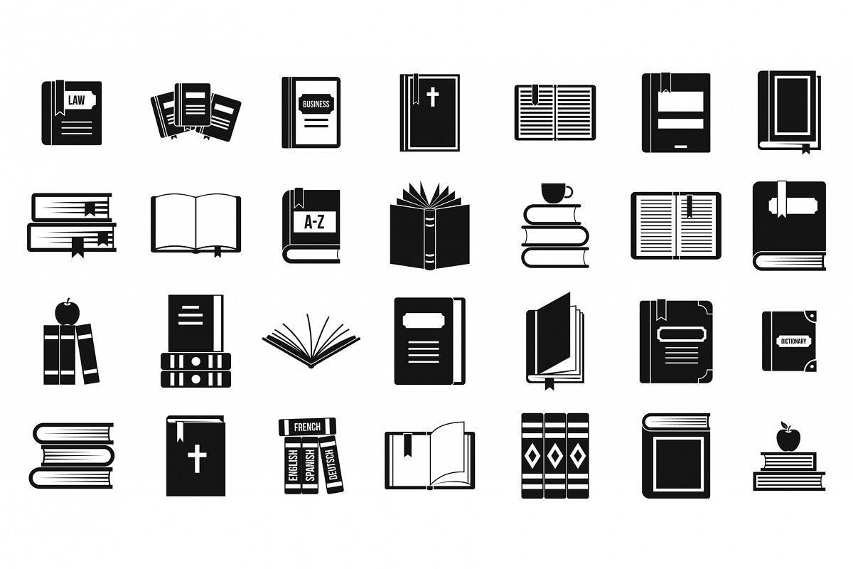 Books icon set, simple style example image 1