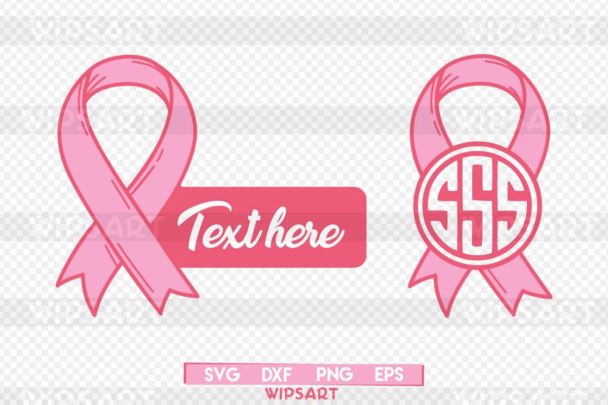 SALE! Breast cancer monogram svg file, breast cancer svg example image 1
