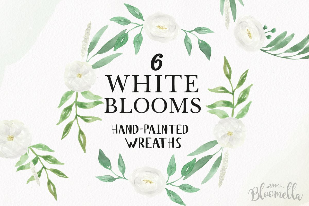 Watercolor White Flowers Clipart Wreaths Garlands Floral Wedding