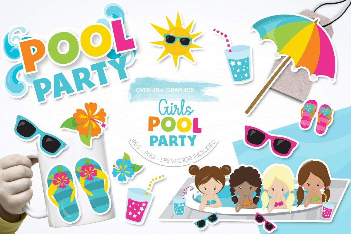 Girls Pool Party graphic and illustrations example image 1
