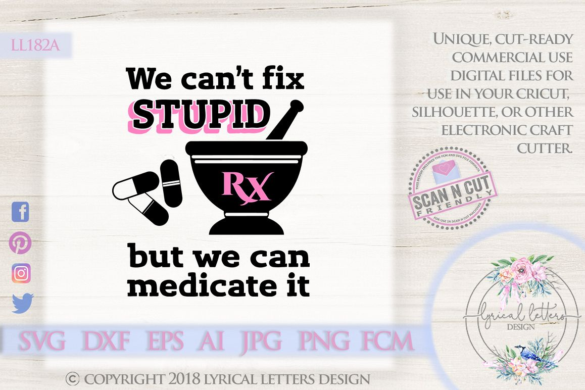 Can't Fix Stupid Pharmacy SVG DXF Cut File Ll182A example image 1