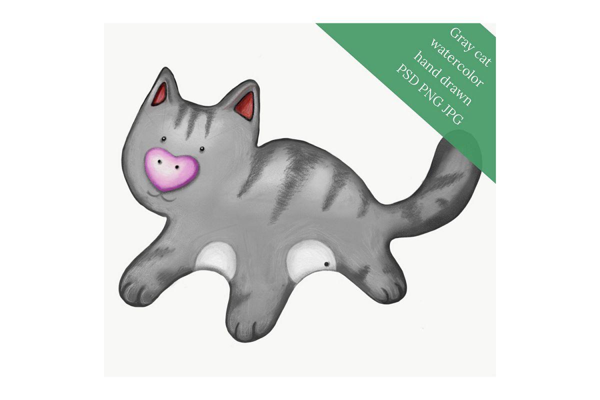 Gray cat watercolor hand drawn example image 1