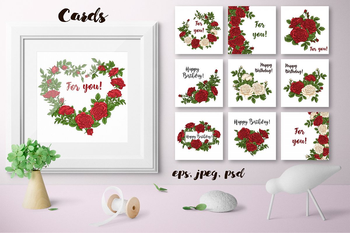 Roses – Vector Cards example image 1