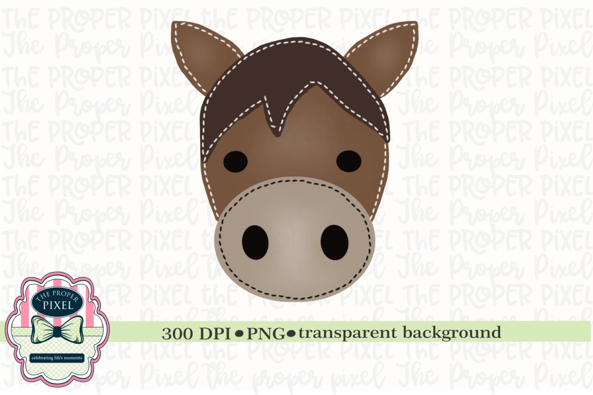 Watercolor Stitched Horse Sublimation Printable example image 1