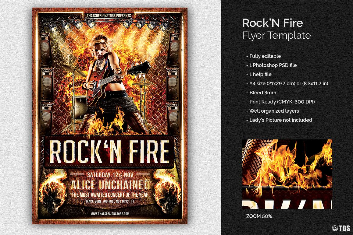 Rock'N Fire Live Flyer Template example image 1