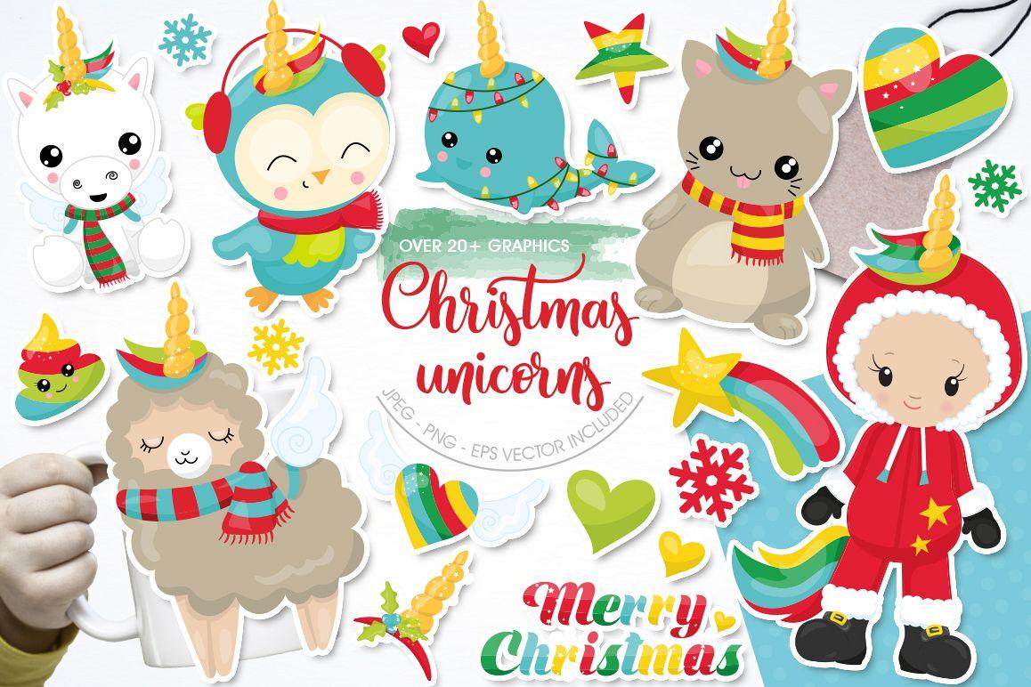 Christmas Wannabe Unicorns graphics and illustrations example image 1