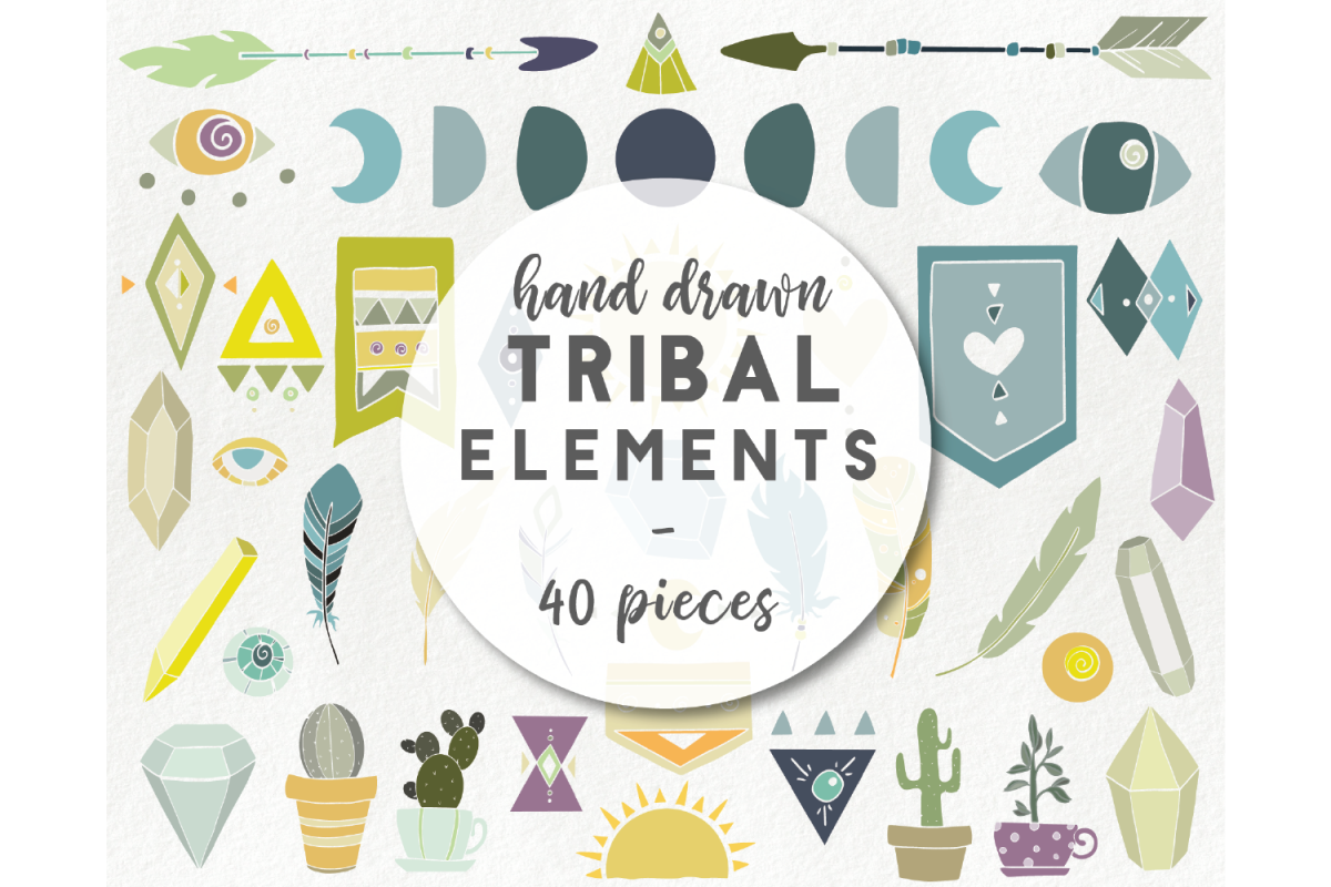 Hand drawn tribal elements - arrow feather crystal clipart