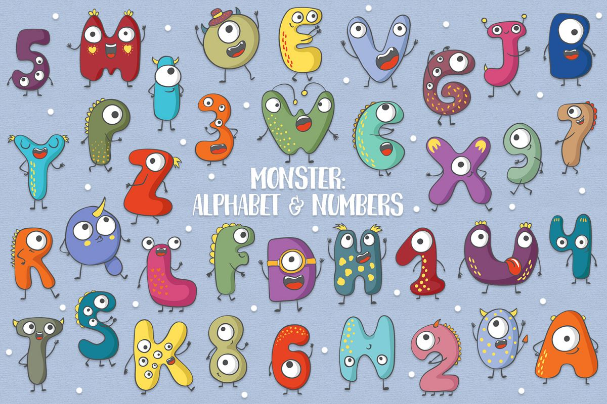 monster alphabet numbers by clipick design bundles