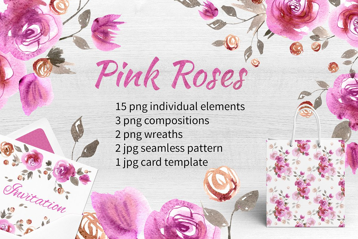 Watercolor pink roses example image 1