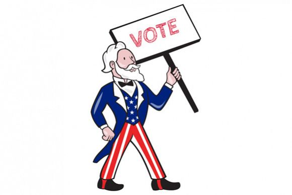 Uncle Sam Placard Vote Standing Cartoon example image 1