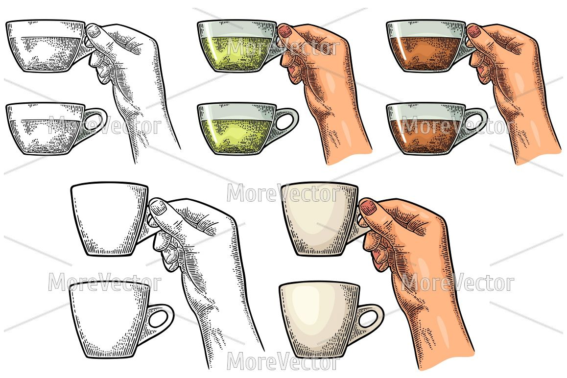 Female hand holding a glass cup of tea and coffee. Vintage engraving example image 1