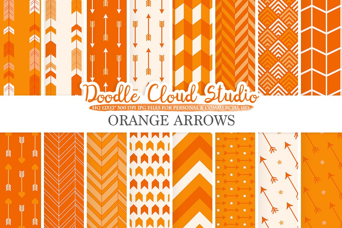 Orange Arrows digital paper, Arrow patterns, tribal, archery, chevron triangles backgrounds Instant Download, Personal & Commercial Use example image 1
