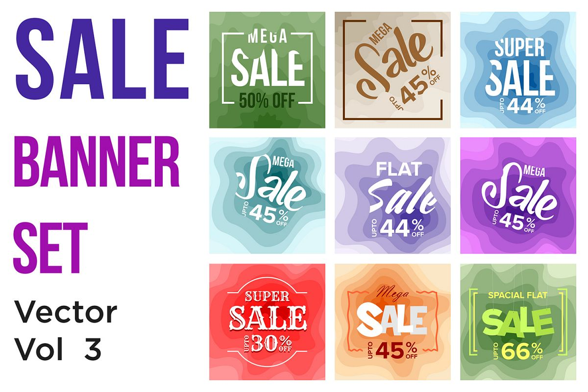 9 Sale Banner Colorful Paper Art Abstract Background V3 example image 1