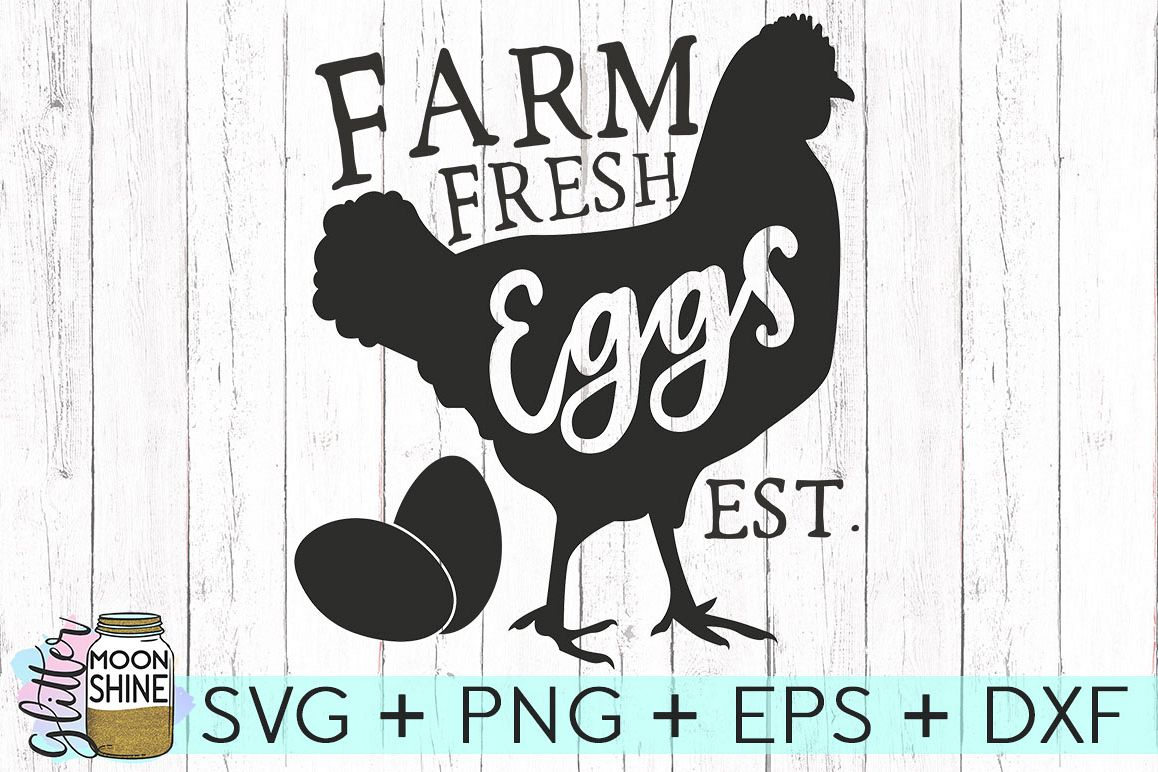 Farm Fresh Eggs SVG DXF PNG EPS Cutting Files example image 1