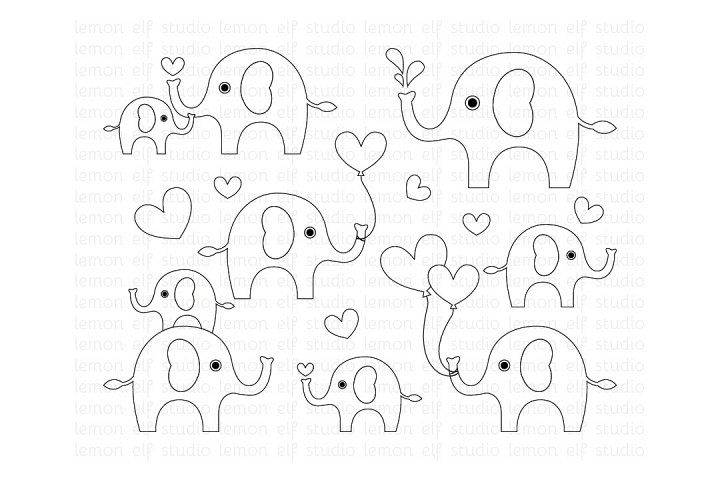 Cute Elephants-Digital Stamp (LES.DS10) example image 1