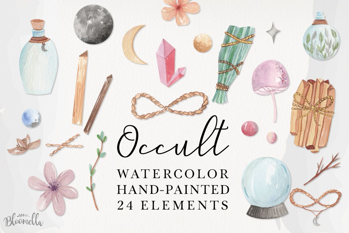 Occult Magic Watercolor 24 Elements Flowers Purple Spells example image 1
