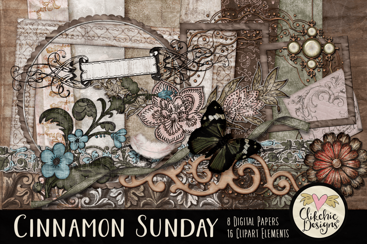 Digital Scrapbook Kit - Cinnamon Sunday example image 1