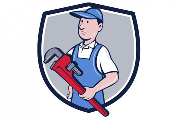 Handyman Pipe Wrench Crest Cartoon example image 1