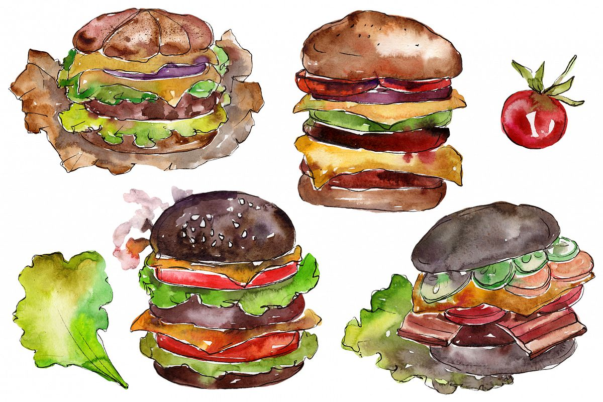 Hamburger black crunchy Watercolor png example image 1