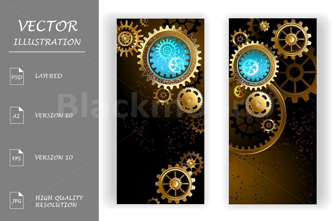 Two Banners with Gears ( Steampunk ) example image 1