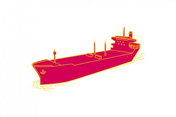 Container Ship Cargo Boat Mono Line example image 1