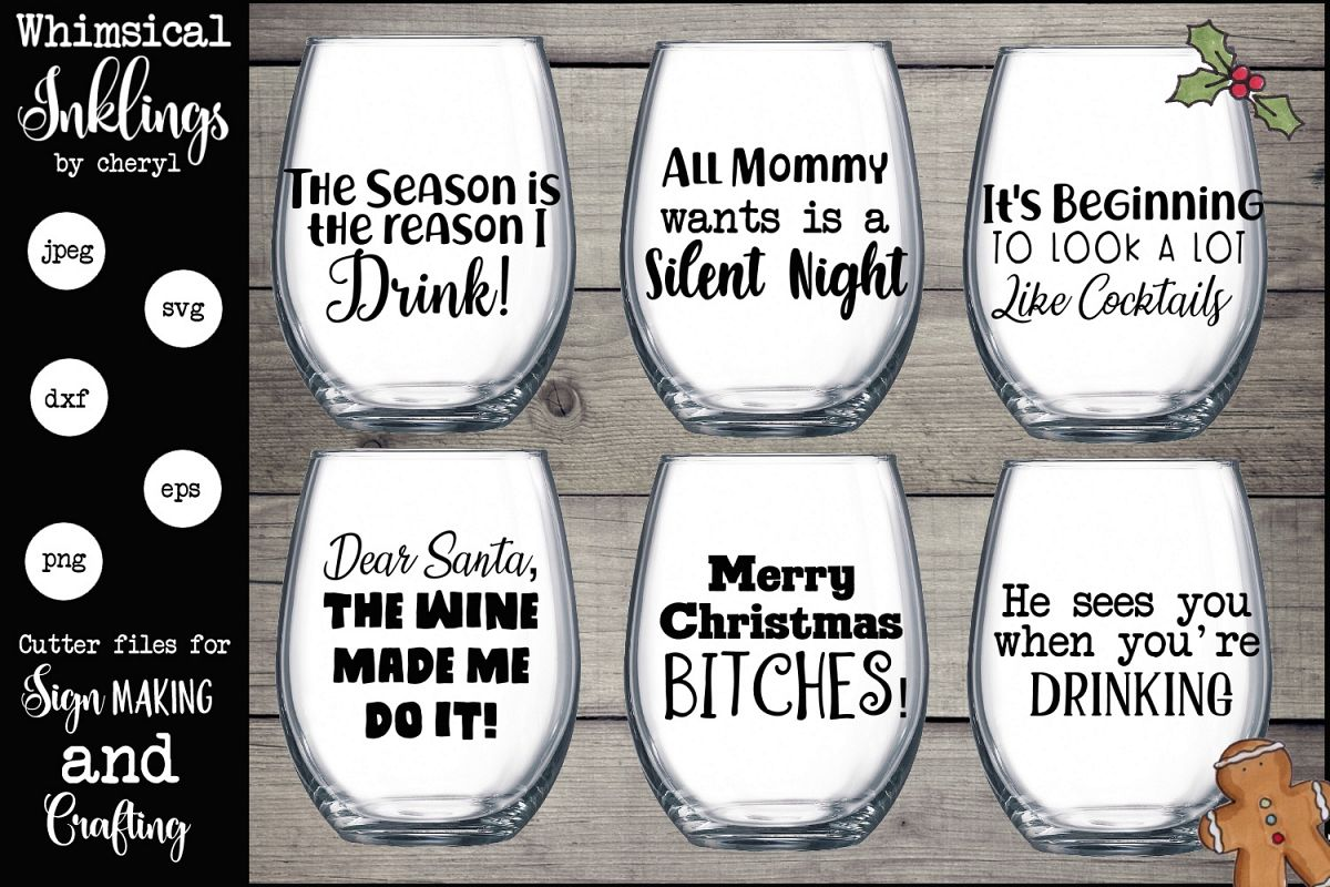 The Reason I Drink Christmas Wine Glass SVG Set example image 1