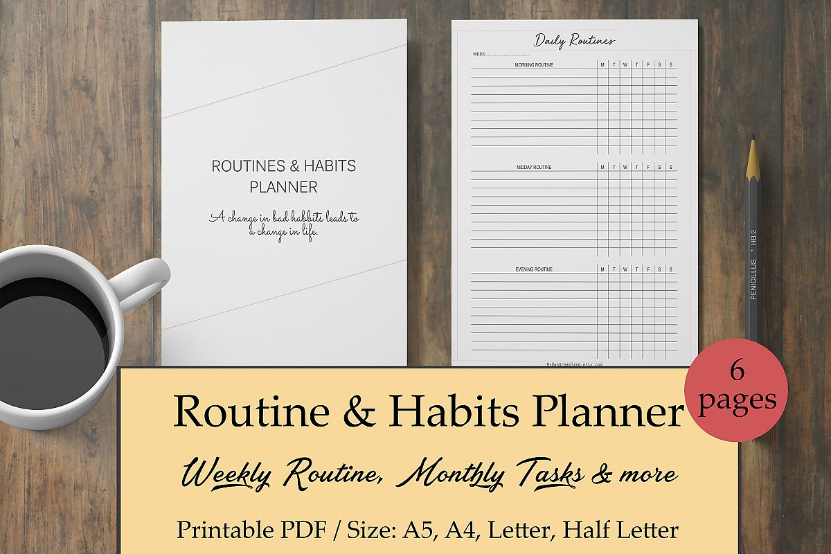 routine planner habit tracker morning routine checklist example image 1