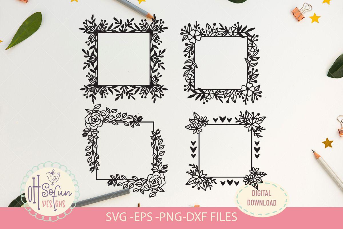 4 flower square frame, SVG, flower border, wedding frame example image 1